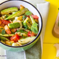 Salad with sauteed vegetables