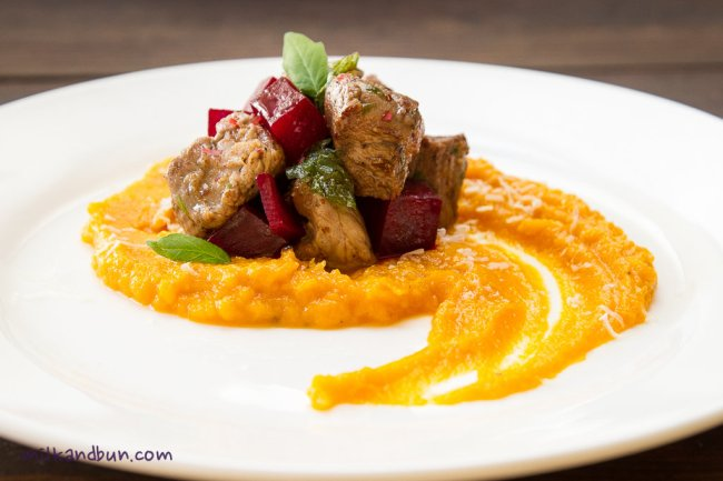Veal with pink pepper and squash puree