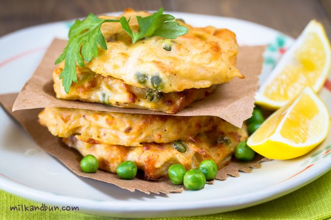 Trout fritters with peas and horseradish