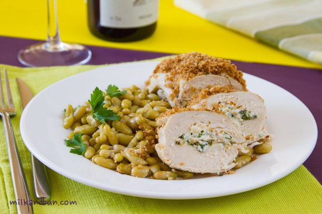 Stuffed Chicken with flageolet beans