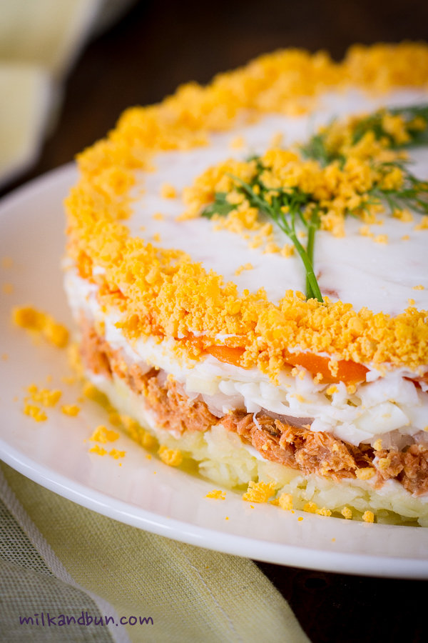 Mimosa-Russian layered salad