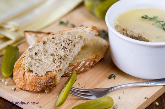 Chicken liver pate on a slice of bread