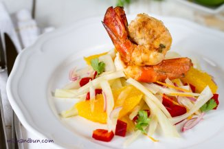 Citrusy scampi with fennel salad