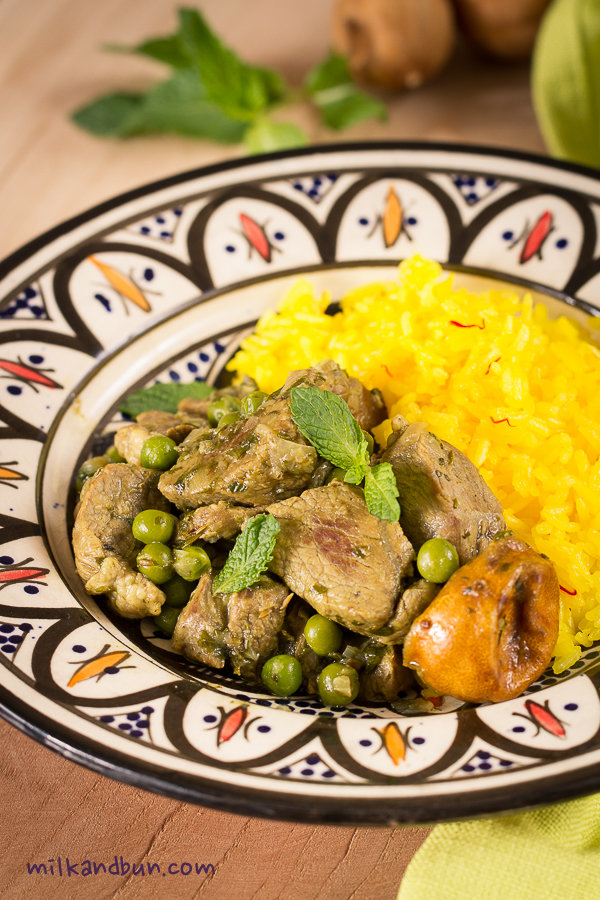Moroccan lamb with peas (and saffron rice)