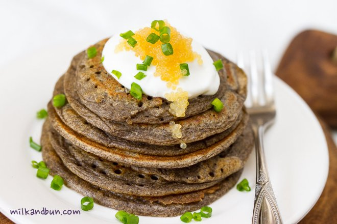 Buckwheat pancakes with pike caviar