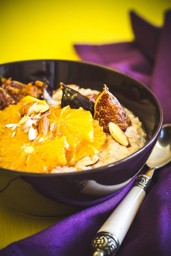 Buckwheat porridge with caramelized orange and figs