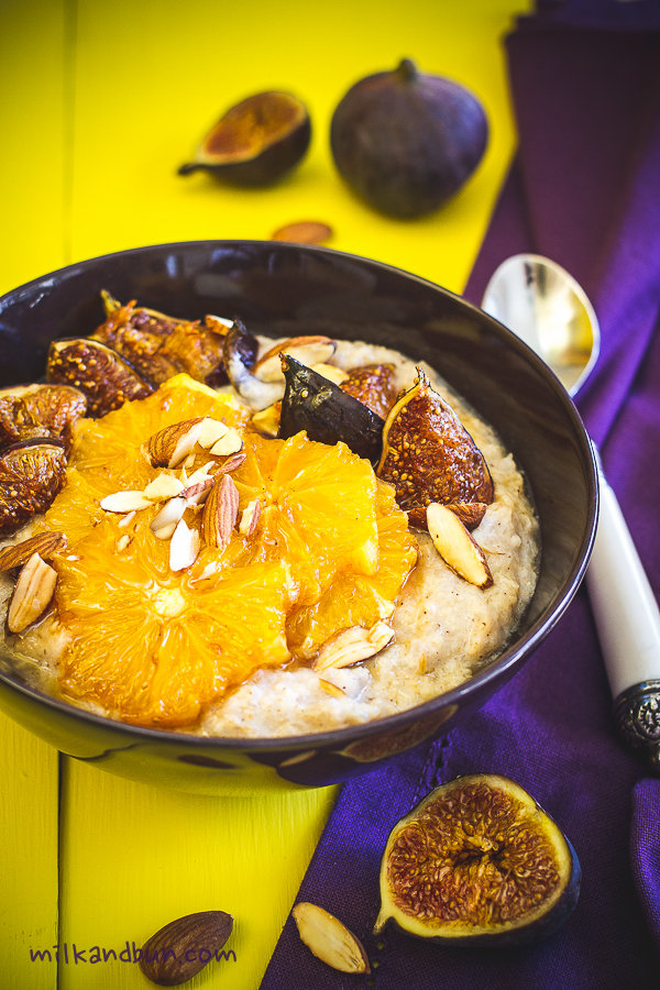 Buckwheat porridge with figs and orange slices