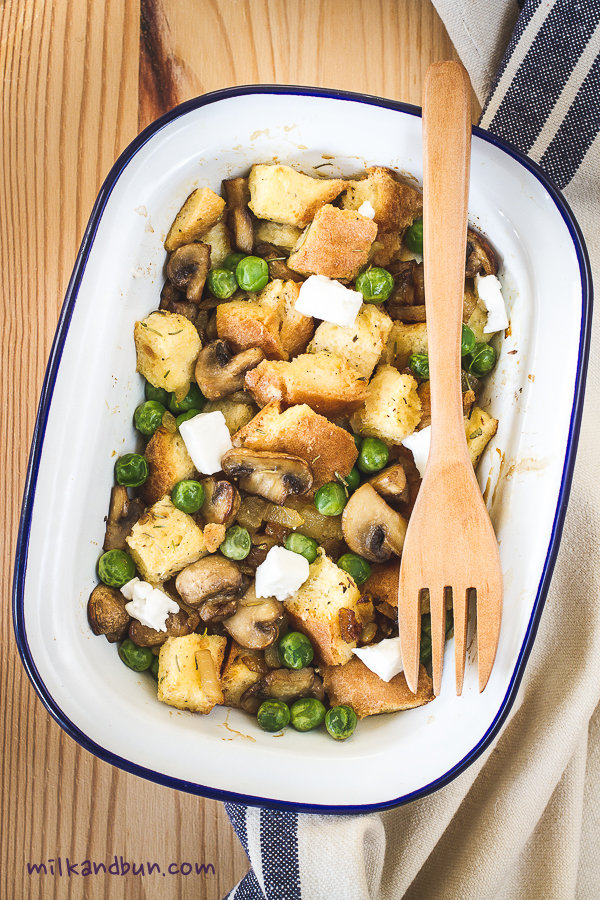 Savory Bread Pudding with mushrooms and peas