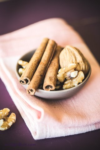 cinnamon sticks and walnuts