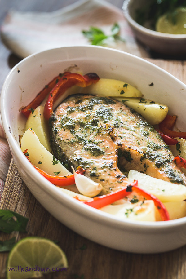 Herb-marinated salmon steaks