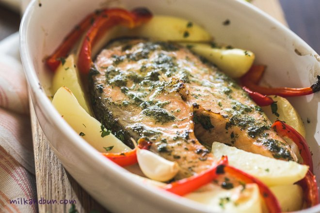 Roasted herb salmon