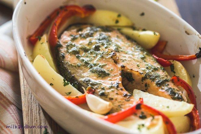 Roasted herb salmon