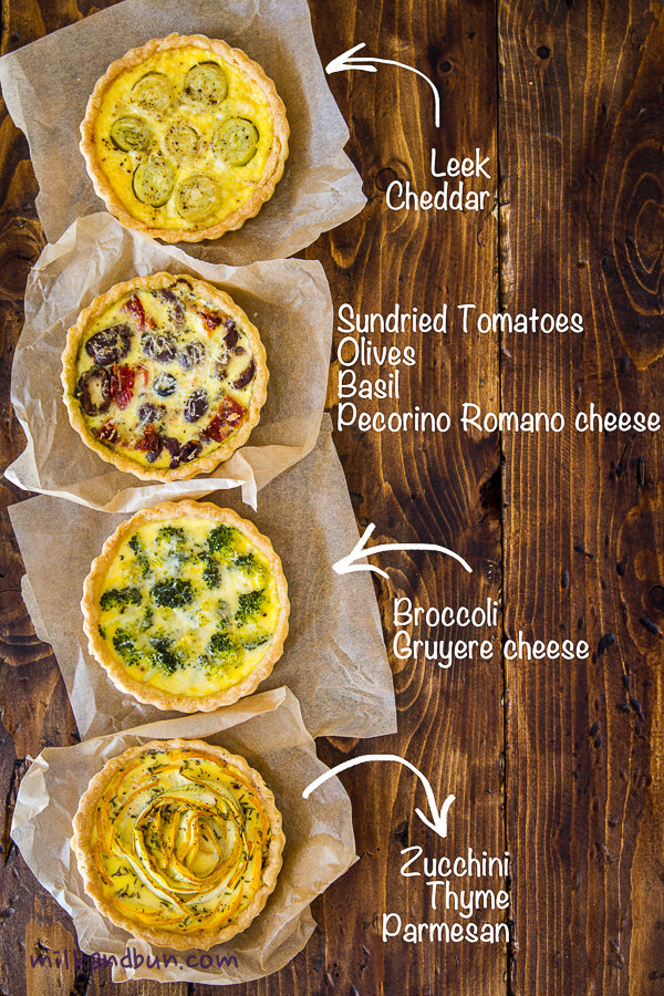 Small quiches: 4 fillings