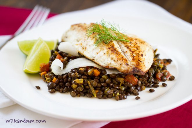 Fish with spiced lentil ragout