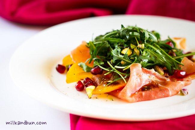 Persimmon&jamon Salad
