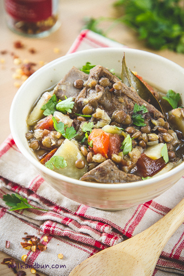 Thick lentil soup with pork ribs